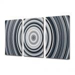 Set Tablouri Multicanvas 3 Piese Abstract Decorativ Cercuri B&W