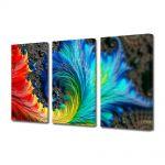 Set Tablouri Multicanvas 3 Piese Abstract Decorativ Pana colorata