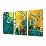 Set Tablouri Multicanvas 3 Piese Abstract Decorativ Nuante pastelate
