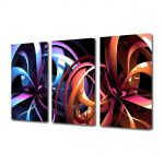 Set Tablouri Multicanvas 3 Piese Abstract Decorativ Carusel de culori