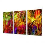 Set Tablouri Multicanvas 3 Piese Abstract Decorativ Colorat