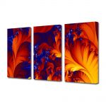 Set Tablouri Multicanvas 3 Piese Abstract Decorativ Frunze exotice