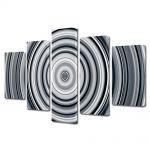 Set Tablouri Multicanvas 5 Piese Abstract Decorativ Cercuri B&W