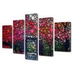 Set Tablouri Multicanvas 5 Piese Abstract Decorativ Cercuri in natura
