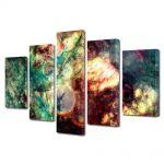 Set Tablouri Multicanvas 5 Piese Abstract Decorativ Spatiu