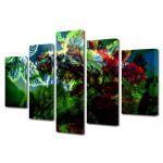 Set Tablouri Multicanvas 5 Piese Abstract Decorativ Scenariu de culori