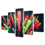 Set Tablouri Multicanvas 5 Piese Abstract Decorativ Zgarie nori abstracti