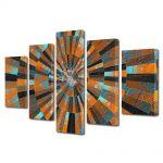 Set Tablouri Multicanvas 5 Piese Abstract Decorativ Scara abstracta