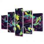 Set Tablouri Multicanvas 5 Piese Abstract Decorativ Culori vintage