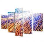 Set Tablouri Multicanvas 5 Piese Abstract Decorativ Plasa de lumina