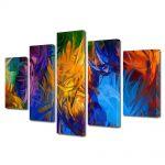 Set Tablouri Multicanvas 5 Piese Abstract Decorativ Fulgi