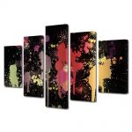 Set Tablouri Multicanvas 5 Piese Abstract Decorativ Pete de vopsea