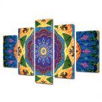 Set Tablouri Multicanvas 5 Piese Abstract Decorativ Motiv tribal