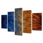 Set Tablouri Multicanvas 5 Piese Abstract Decorativ Pana de paun