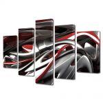 Set Tablouri Multicanvas 5 Piese Abstract Decorativ Plastic topit