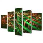 Set Tablouri Multicanvas 5 Piese Abstract Decorativ Colaj