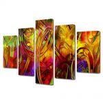 Set Tablouri Multicanvas 5 Piese Abstract Decorativ Colorat