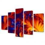 Set Tablouri Multicanvas 5 Piese Abstract Decorativ Frunze exotice