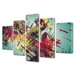Set Tablouri Multicanvas 5 Piese Abstract Decorativ Vintage abstract