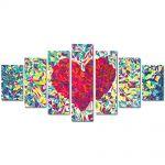 Set Tablouri Multicanvas 7 Piese Abstract Decorativ Inima