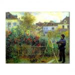 Tablou Arta Clasica Pictor Pierre-Auguste Renoir Monet painting in his garden at Argenteuil 1873 80 x 100 cm