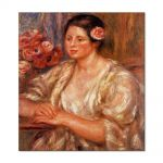 Tablou Arta Clasica Pictor Pierre-Auguste Renoir Madelaine in a white blouse and a bouquet of flowers 1919 80 x 90 cm