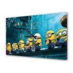 Tablou Canvas cu Ceas Animatie pentru Copii Minionii din Despicable Me, 30 x 45 cm