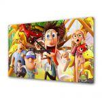 Tablou Canvas cu Ceas Animatie pentru Copii Cloudy With a Chance of Meatballs 2, 30 x 45 cm
