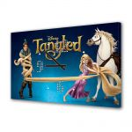Tablou Canvas cu Ceas Animatie pentru Copii Tangled Rapunzel, Flynn si Maximus, 30 x 45 cm