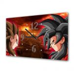 Tablou Canvas cu Ceas Animatie pentru Copii Dragon Ball Z Goku vs Vegeta, 30 x 45 cm