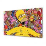 Tablou Canvas cu Ceas Animatie pentru Copii Homer Simpson, 30 x 45 cm