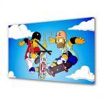 Tablou Canvas cu Ceas Animatie pentru Copii Homer and Tony Hawk, 30 x 45 cm