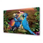 Tablou Canvas cu Ceas Animatie pentru Copii Rio 2 2014, 30 x 45 cm