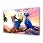 Tablou Canvas cu Ceas Animatie pentru Copii Rio 2 Calatorii, 30 x 45 cm