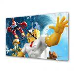 Tablou Canvas cu Ceas Animatie pentru Copii Spongebob Movie, 30 x 45 cm