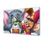 Tablou Canvas cu Ceas Animatie pentru Copii Tom si Jerry 2, 30 x 45 cm
