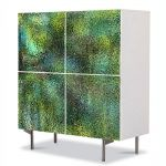 Comoda cu 4 Usi Art Work Abstract Textura sticla verde, 84 x 84 cm