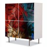 Comoda cu 4 Usi Art Work Abstract Fasii colorate, 84 x 84 cm