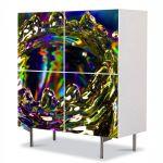 Comoda cu 4 Usi Art Work Abstract Lichid, 84 x 84 cm