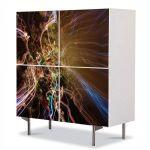 Comoda cu 4 Usi Art Work Abstract Electricitate, 84 x 84 cm