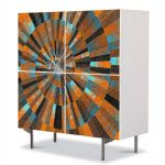 Comoda cu 4 Usi Art Work Abstract Spirala gravata, 84 x 84 cm