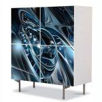 Comoda cu 4 Usi Art Work Abstract Albastru metalic, 84 x 84 cm