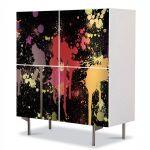 Comoda cu 4 Usi Art Work Abstract Culori stropite, 84 x 84 cm