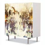 Comoda cu 4 Usi Art Work Abstract Steampunk, 84 x 84 cm