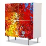 Comoda cu 4 Usi Art Work Abstract Cercuri rosii, 84 x 84 cm