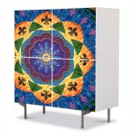 Comoda cu 4 Usi Art Work Abstract Mandala multicolora, 84 x 84 cm