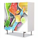 Comoda cu 4 Usi Art Work Abstract Forme in spatiu, 84 x 84 cm