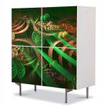 Comoda cu 4 Usi Art Work Abstract Tuburi verzi, 84 x 84 cm