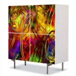 Comoda cu 4 Usi Art Work Abstract Spirale multicolore, 84 x 84 cm