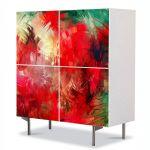 Comoda cu 4 Usi Art Work Abstract Tropical, 84 x 84 cm